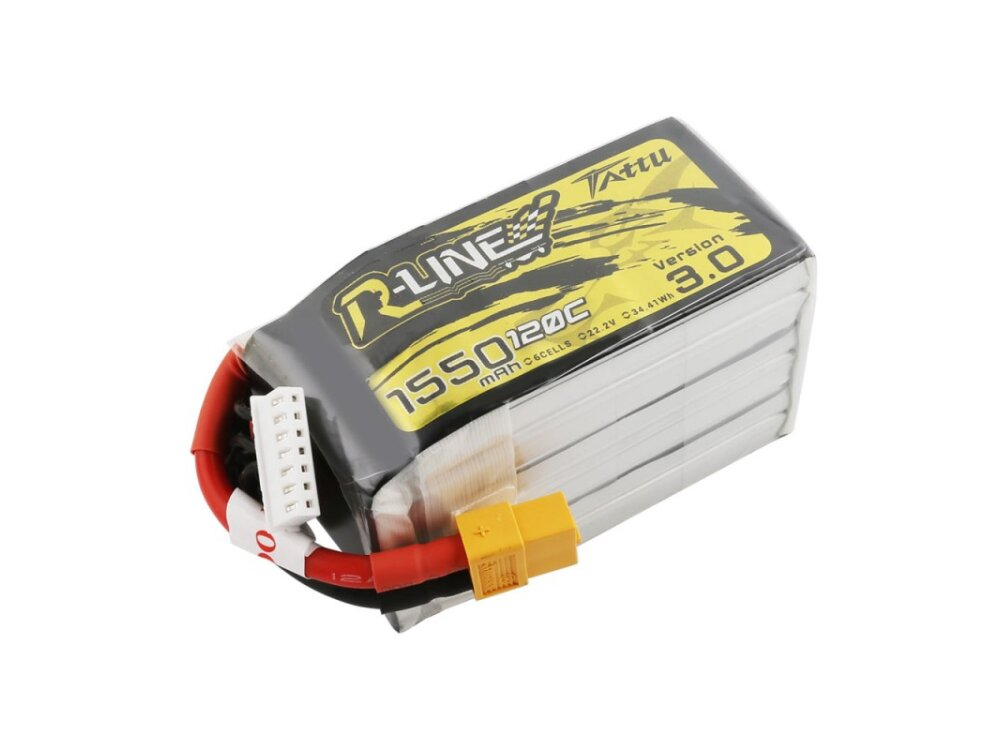Tattu R-Line 1550mAh 22.2V 120C 6S1P Lipo Battery Pack with XT60 Plug
