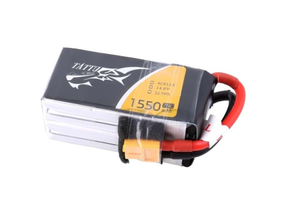 Tattu 1550mAh 14.8V 75C 4S1P Lipo Battery Pack with XT60 Plug & Detachable Balance Cable