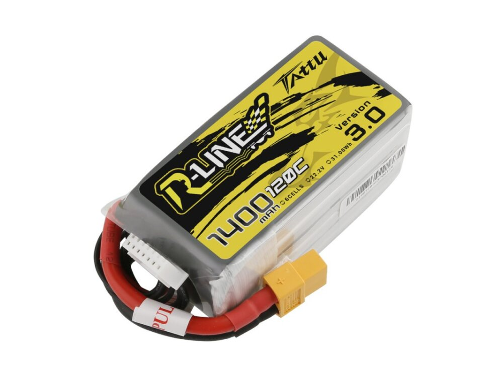 Tattu R-Line 1400mAh 120C 22.2V 6S1P Lipo Battery Pack with XT60 Plug